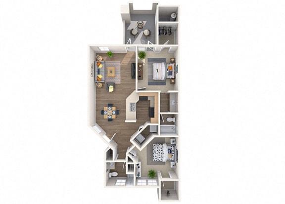 Floor Plan  Azalea2 bed/2 Bath