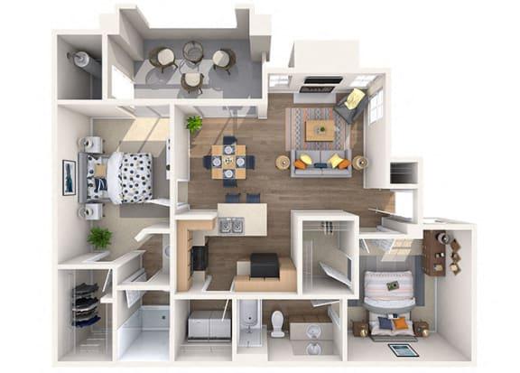 Floor Plan  Bougainvilla 2 bed/2 Bath