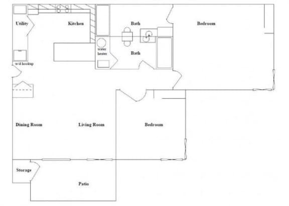 Floor Plan  2 Bedroom 2 Bathroom Floor Plan at Columbia Village, Idaho, 83716