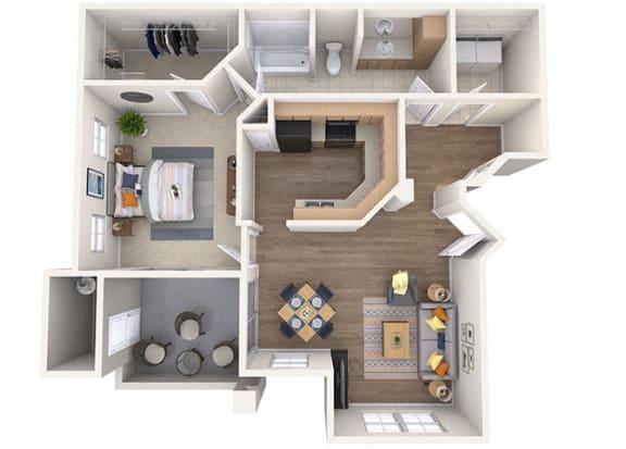 Floor Plan  Sierra Foothills|Cholla|1 Bed/1 Bath