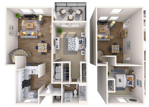Floor Plan  1x1 Loft Small