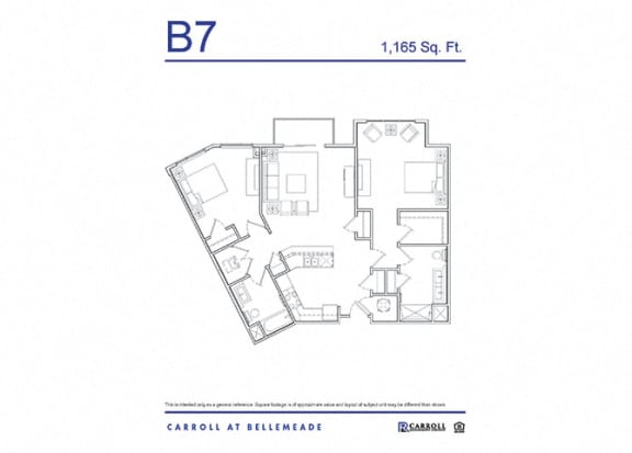 Floor Plan  Carroll at Bellemeade 2 Bedroom Apartment Floor Plan