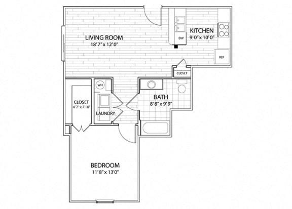 Floor Plan  Mesa | 1 Bedroom 1 Bath Apartment