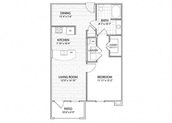 Floor Plan  Summit   1 Bedroom 1 Bath Apartment