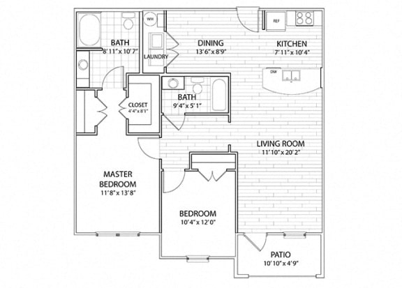 Floor Plan  Sierra   2 Bedroom 2 Bath Apartment