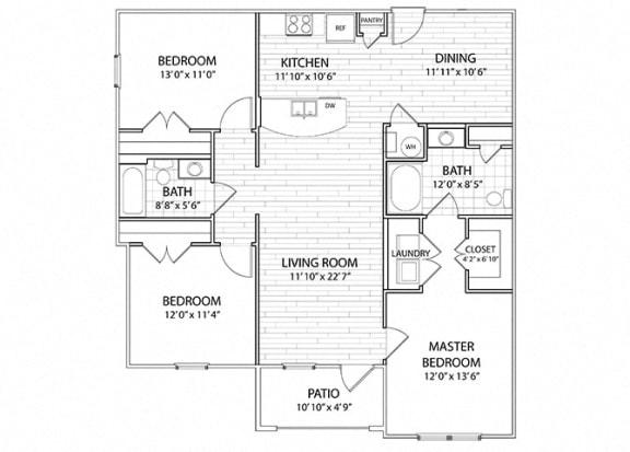 Floor Plan  Apex   3 Bedroom 2 Bath Apartment