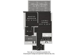 A7 1 Bedroom 1 Bath Floor Plan at 640 North Wells, Chicago, IL