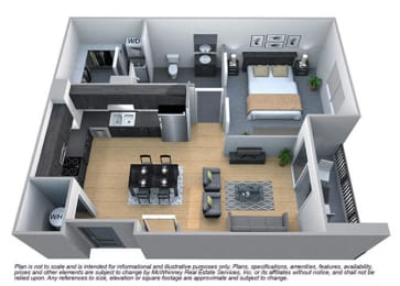 Linden 1 Bedroom 1 Bath Floorplan at Cycle Apartments, Ft. Collins, CO, 80525