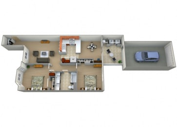 Two Bed One Bath Catalina Floorplan at Dominion Courtyard Villas, Fresno, 93720