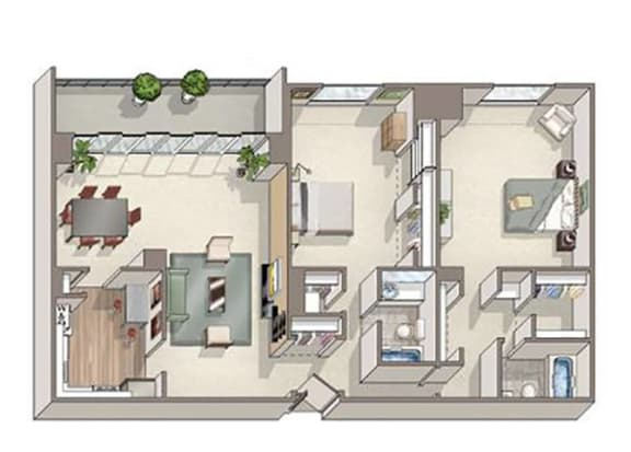 Floor Plan  2 Bed 2 Bath Cambridge Floor Plan at The Summit, Alexandria, 22304