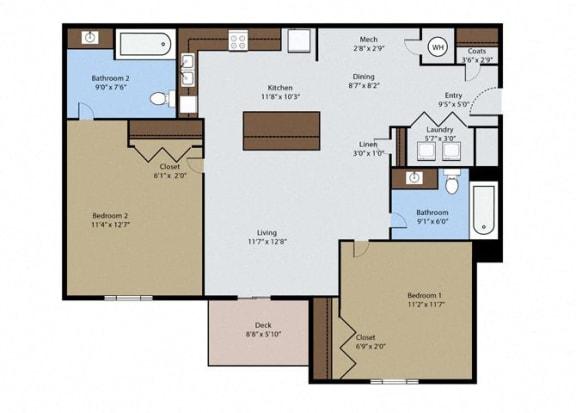 Floor Plan  Aspen 2 Bedroom 2 Bath Floor Plan at Pinyon Pointe, Loveland, Colorado