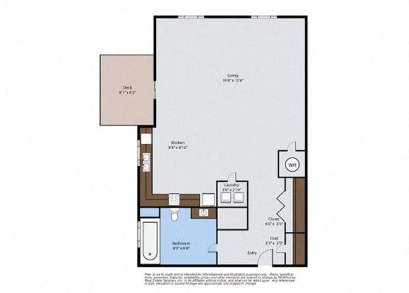 Floor Plan  Oak - Studio Floor Plan at Pinyon Pointe, Colorado, 80537