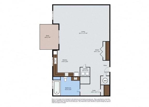 Floor Plan  Poplar - Studio Floor Plan at Pinyon Pointe, Loveland, CO, 80537