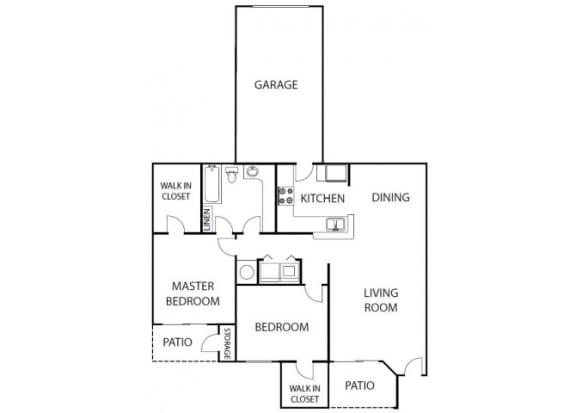 Floor Plan  Camelia 2 bedroom 1 bath bay club apartment homes Jacksonville florida