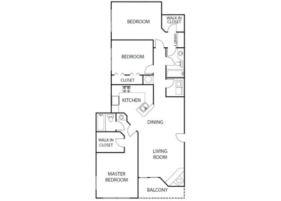 Floor Plan  indigo 3 bedroom 2 bath bay club apartment homes jacksonville florida