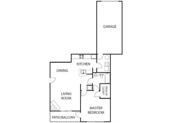 Floor Plan  Amelia 1 bedroom 1 bath bay club apartment homes jacksonville florida