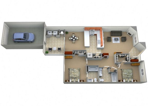 Floor Plan  Two Bed Two Bath Granada Floorplan at Dominion Courtyard Villas, Fresno, California