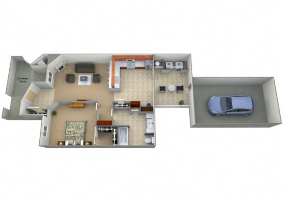 Floor Plan  One Bed On Bath Joaquin Floorplan at Dominion Courtyard Villas, Fresno, CA