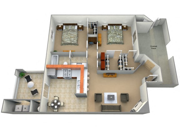 Floor Plan  Two Bed One Bath Santa Maria Floorplan at Dominion Courtyard Villas, Fresno