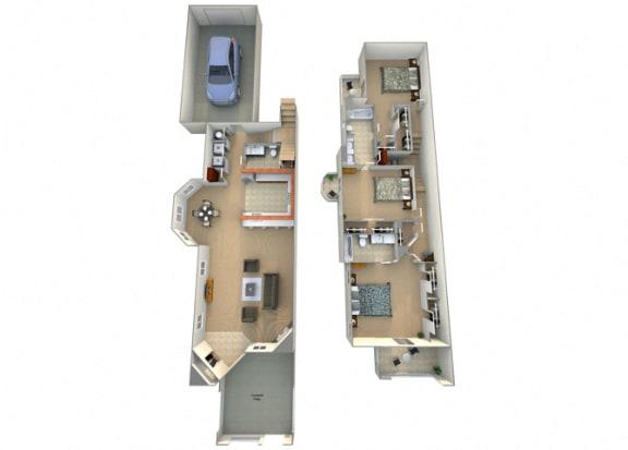 Floor Plan  3 Bed 2.5 Bath Tesoro Floorplan at Dominion Courtyard Villas, California