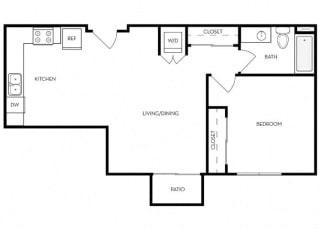 1 Bed 1 Bath 709 square feet floor plan B2 - MFTE