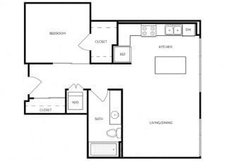 1 Bed 1 Bath 656 square feet floor plan B4 - MFTE