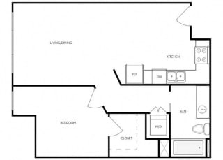 1 bed 1 Bath 657 square feet floor plan B3