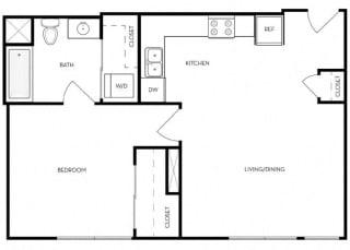 1 bed 1 Bath 698 square feet floor plan D3
