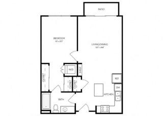 1 bed 1 Bath 725 square feet floor plan B1