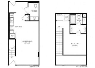 1 Bed 1 Bath 770 square feet floor plan Loft 1