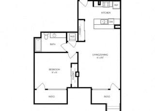 1 Bed 1 Bath 874 square feet floor plan D2