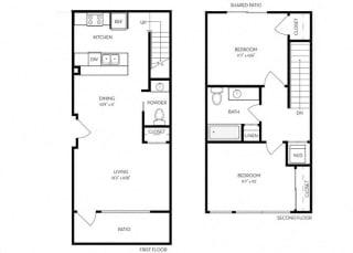 2 Bed 2 Bath 1030 square feet floor plan D4