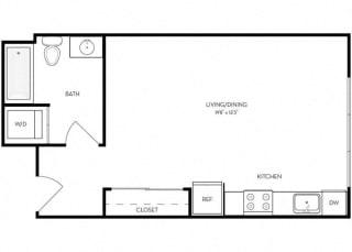 Studio 1 Bath 462 square feet floor plan A4