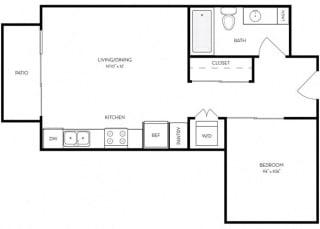 Studio 1 Bath 523 square feet floor plan A3