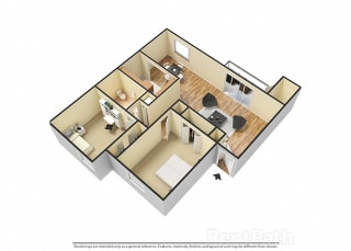 2 BR, 1 Bath Floor Plan 3D View at Pickwick Farms Apartments, Indianapolis, 46260