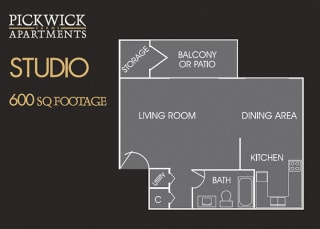 Studio 3D View Floor Plan at Pickwick Farms Apartments, Indiana