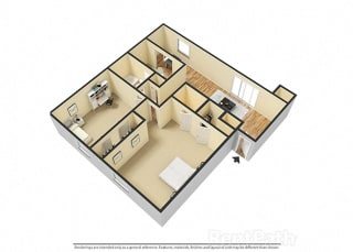 2 BR, 1.5 Bath Floor Plan 3D View at Pickwick Farms Apartments, Indianapolis, Indiana