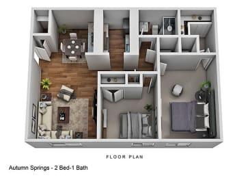 2 Bedroom 1 Bath Floor Plan at Autumn Springs Apartments, Columbus
