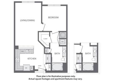 Floor Plan  C - 1 Bedroom 1 Bath Floorplan at Windsor at Cambridge Park, 160 Cambridge Park Drive, Cambridge
