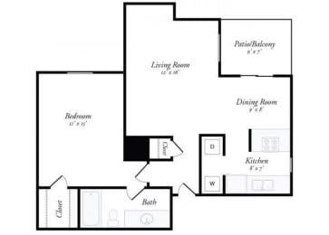 1 Bed 1 Bath - A2 Floorplan at Summit Ridge Apartments, Temple, TX