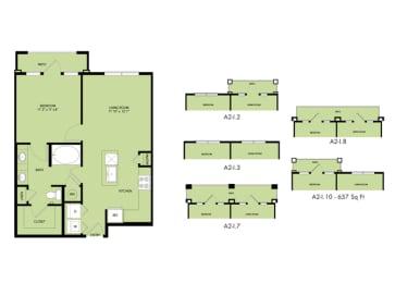 The Nexus Lakeside|A2 Floor Plan  1 Bedroom 1 Bath