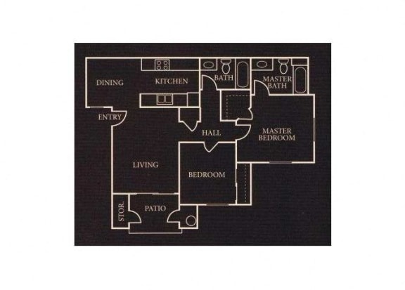 Floor Plan  The 2x2 floor plan. l Sommerset Place Apartments in Sacramento CA