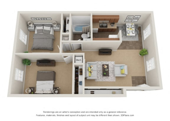 Floor Plan  Colonial Pines floor plan affordable apartments