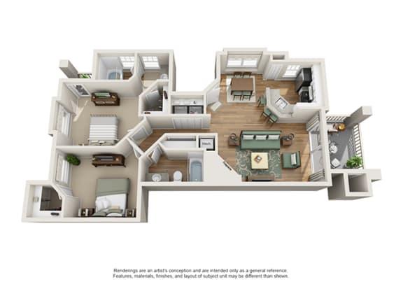 Floor Plan  Verdant Apartment Homes - 2 Bedroom 2 Bath Apartment
