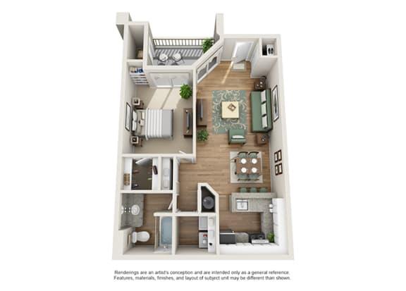 Floor Plan  Verdant Apartment Homes - 1 Bedroom 1 Bath Apartment