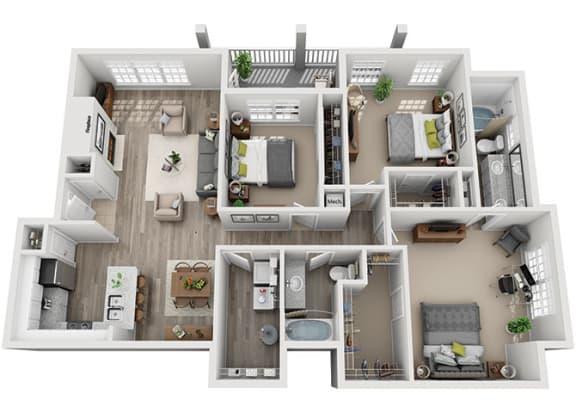 Floor Plan  C3.3ar Floor Plan at Addison Park, Charlotte, 28269