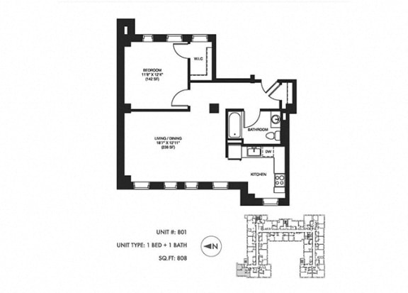 1 Bed 1 Bath 808 sqft Floor Plan at Somerset Place Apartments, Chicago, IL, 60640