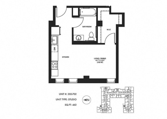 Studio 462 sqft Floor plan at Somerset Place Apartments, Chicago, IL