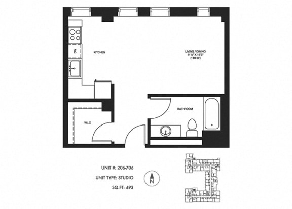 Studio 493 sqft Floor Plan at Somerset Place Apartments, Chicago, IL, 60640
