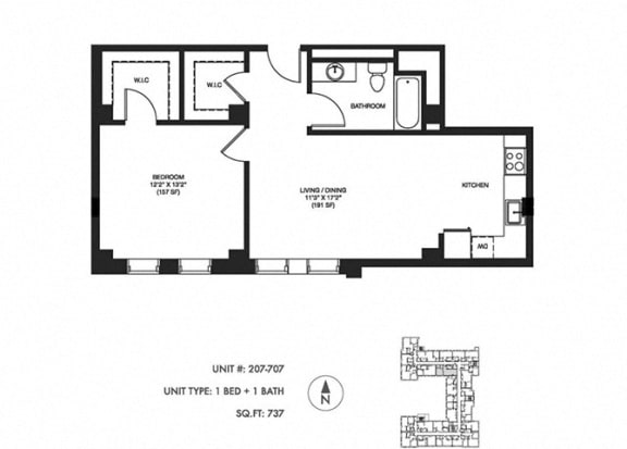 1 Bed 1 Bath 737 sq ft Floor Plan at Somerset Place Apartments, Chicago